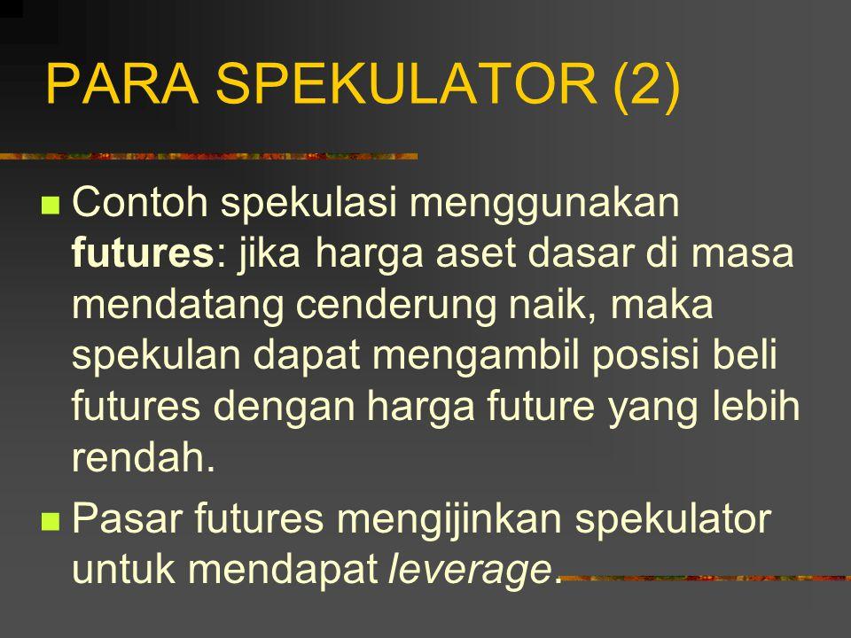 PARA SPEKULATOR (1) Tujuan spekulator: mengambil suatu posisi di pasar.