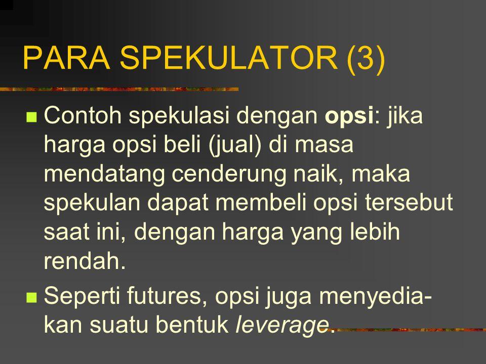 PARA SPEKULATOR (2) Contoh spekulasi menggunakan futures: jika harga aset dasar di masa mendatang cenderung naik, maka spekulan dapat mengambil posisi beli futures dengan harga future yang lebih rendah.