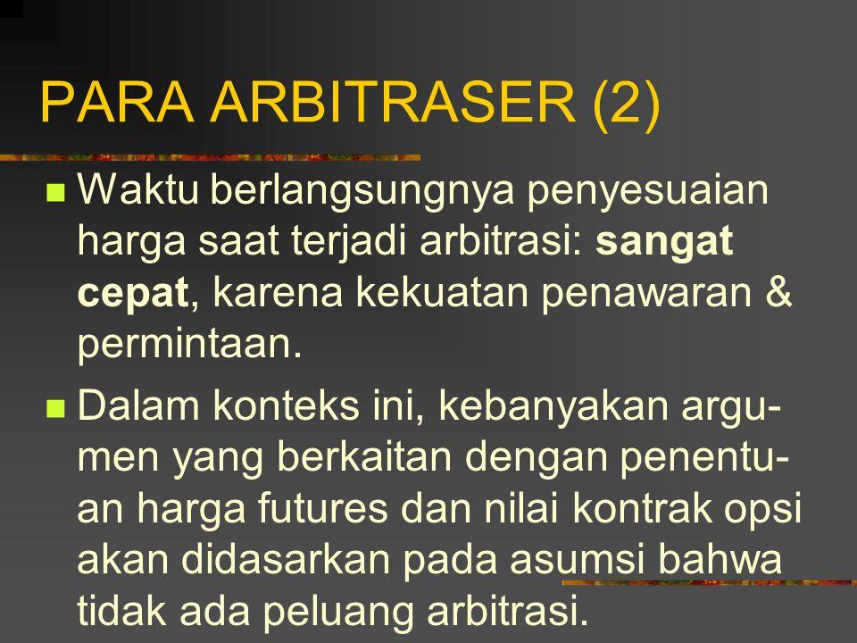 PARA ARBITRASER (1) Arbitrasi: penggunaan derivatif yang melibatkan penguncian dalam keuntungan bebas risiko dengan secara simultan memasukkan pada transaksi-transaksi dalam dua atau lebih pasar.