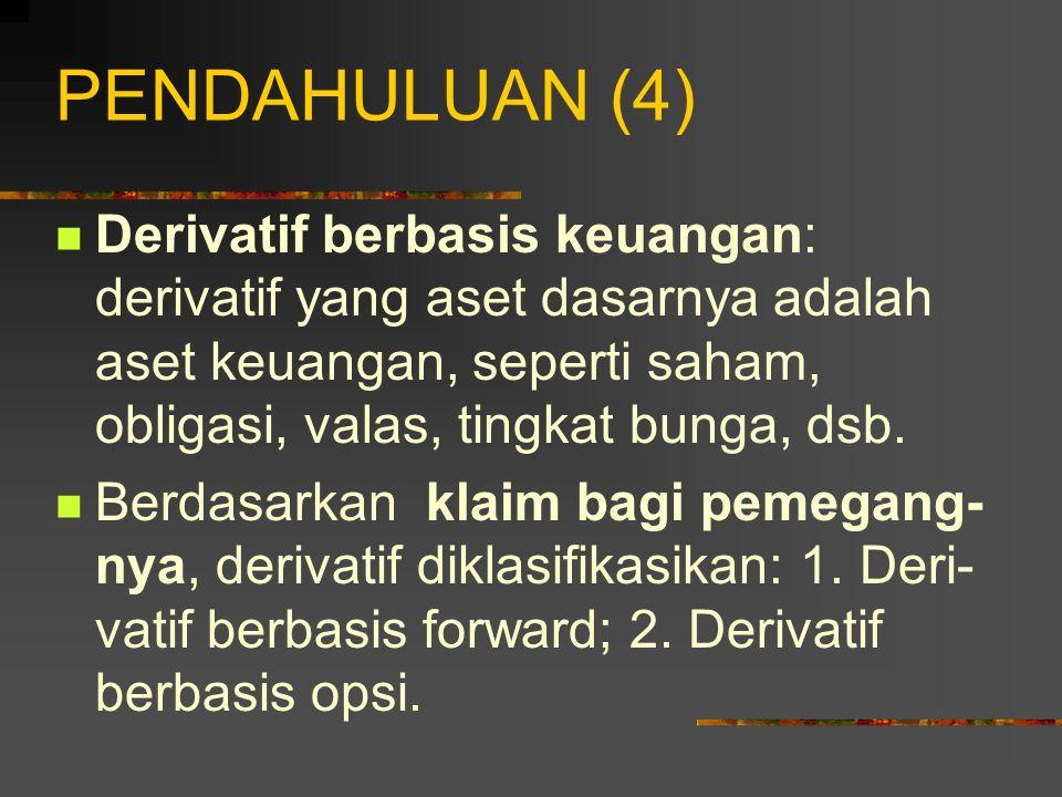 PENDAHULUAN (3) Instrumen derivatif diklasifikasikan menurut dua cara: 1.
