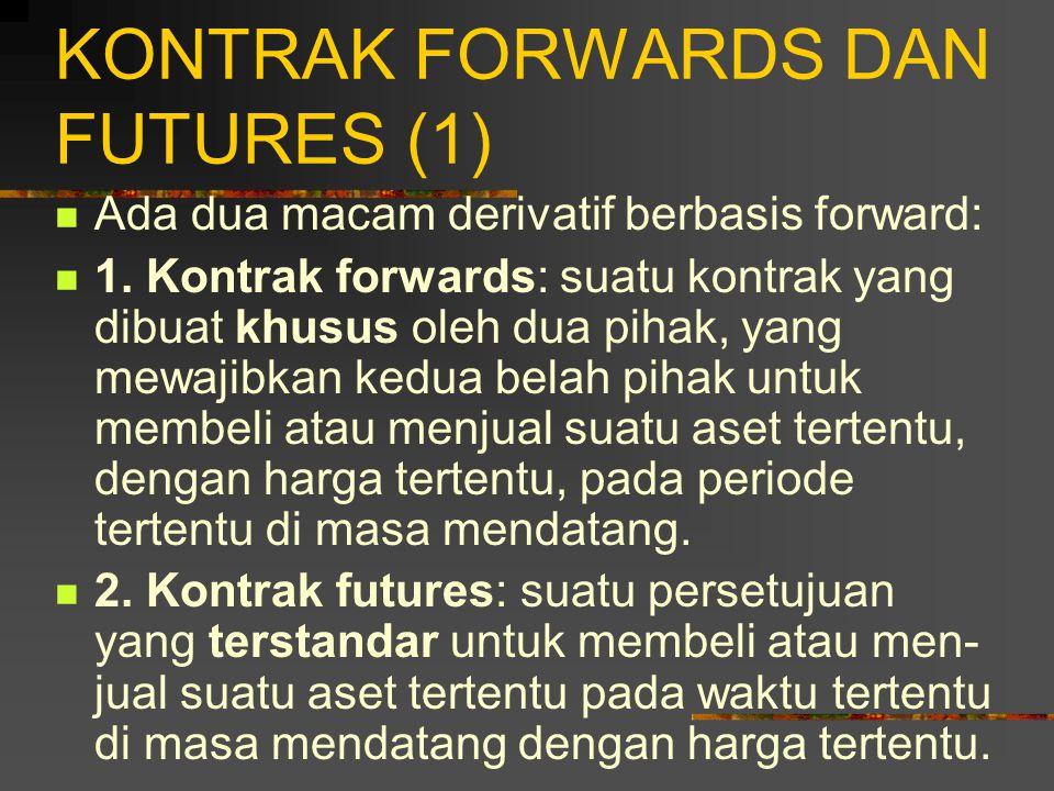 PENDAHULUAN (5) Derivatif berbasis forward: derivatif yang memberikan kewajiban kepada peme- gangnya untuk membeli atau menjual suatu aset tertentu, dengan harga tertentu, dan pada periode tertentu di masa mendatang.