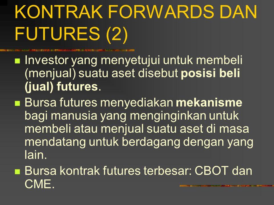 KONTRAK FORWARDS DAN FUTURES (1) Ada dua macam derivatif berbasis forward: 1.