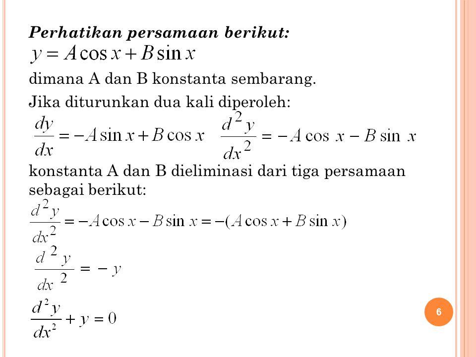 6 Perhatikan persamaan berikut: dimana A dan B konstanta sembarang. Jika diturunkan dua kali diperoleh: konstanta A dan B dieliminasi dari tiga persam