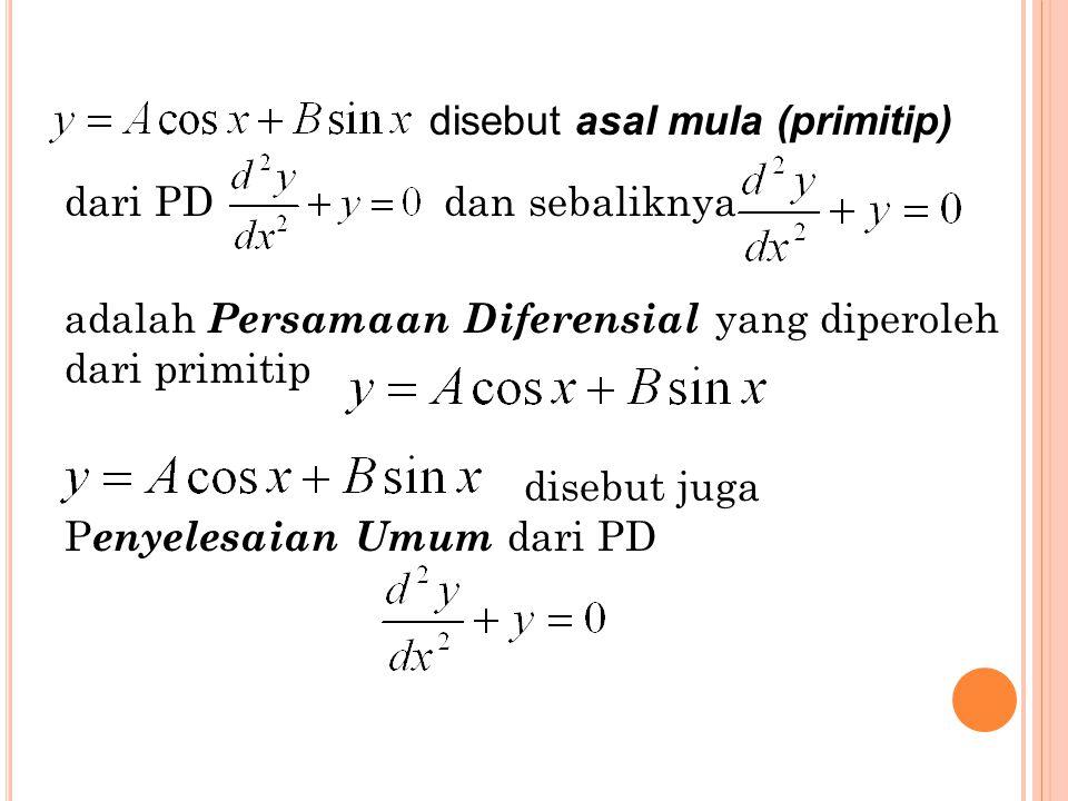 7 dari PD dan sebaliknya adalah Persamaan Diferensial yang diperoleh dari primitip disebut juga P enyelesaian Umum dari PD disebut asal mula (primitip