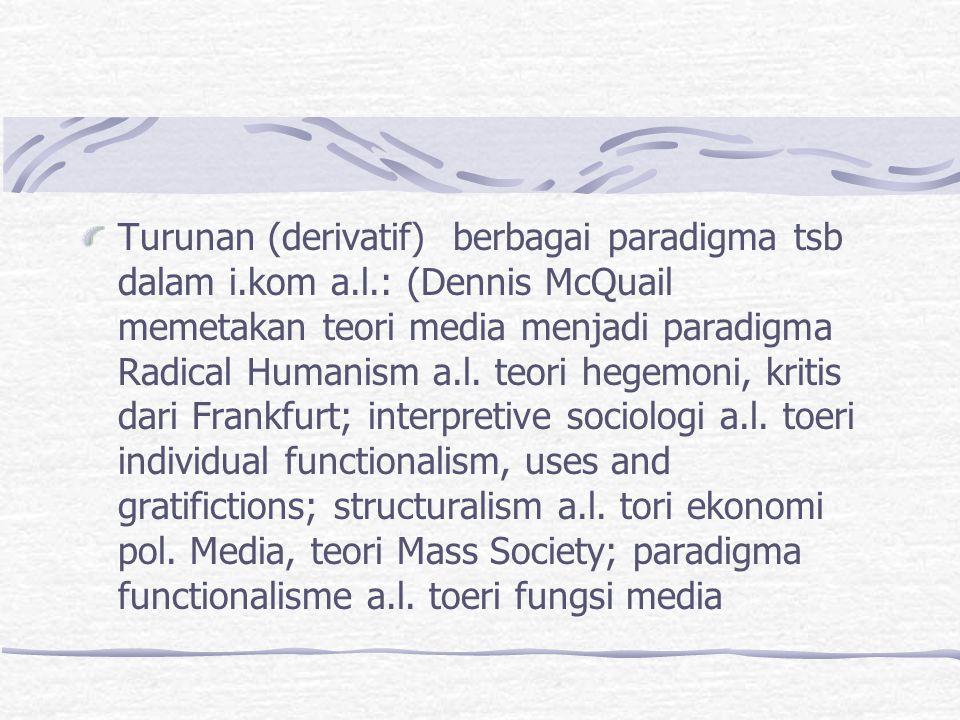 Turunan (derivatif) berbagai paradigma tsb dalam i.kom a.l.: (Dennis McQuail memetakan teori media menjadi paradigma Radical Humanism a.l. teori hegem
