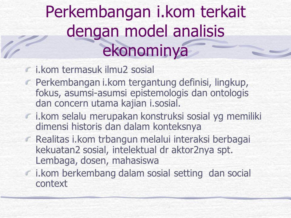 Perkembangan i.kom terkait dengan model analisis ekonominya i.kom termasuk ilmu2 sosial Perkembangan i.kom tergantung definisi, lingkup, fokus, asumsi