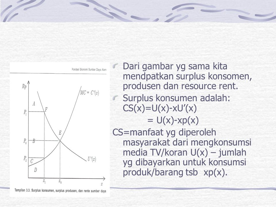 Dari gambar yg sama kita mendpatkan surplus konsomen, produsen dan resource rent. Surplus konsumen adalah: CS(x)=U(x)-xU'(x) = U(x)-xp(x) CS=manfaat y