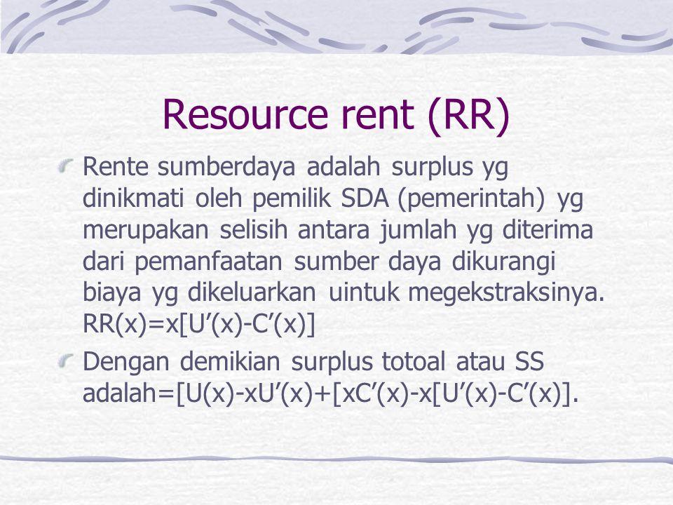 Resource rent (RR) Rente sumberdaya adalah surplus yg dinikmati oleh pemilik SDA (pemerintah) yg merupakan selisih antara jumlah yg diterima dari pema