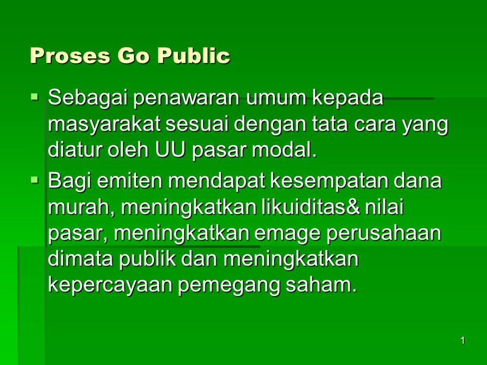 1 Proses Go Public  Sebagai penawaran umum kepada masyarakat sesuai dengan tata cara yang diatur oleh UU pasar modal.