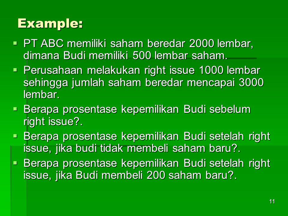 11 Example:  PT ABC memiliki saham beredar 2000 lembar, dimana Budi memiliki 500 lembar saham.