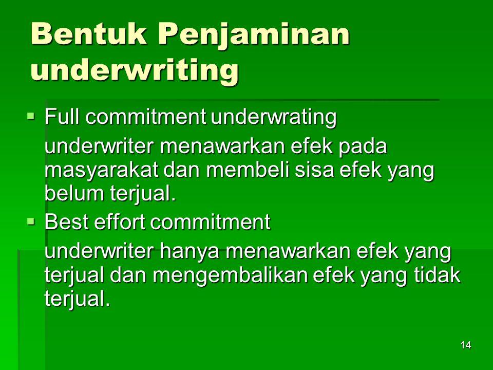 14 Bentuk Penjaminan underwriting  Full commitment underwrating underwriter menawarkan efek pada masyarakat dan membeli sisa efek yang belum terjual.