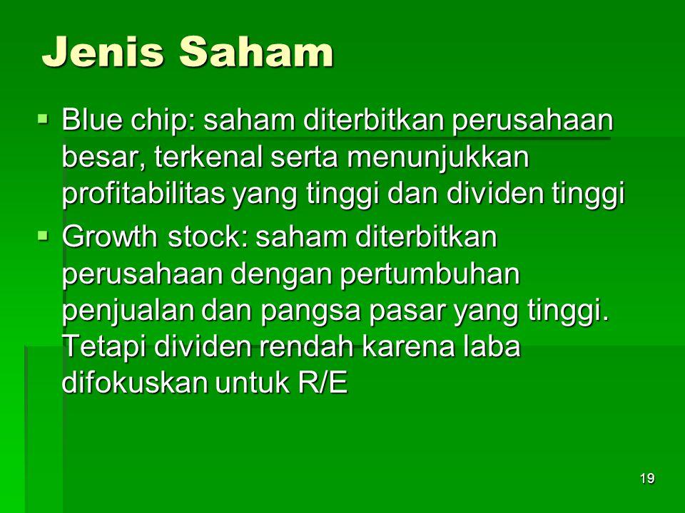 19 Jenis Saham  Blue chip: saham diterbitkan perusahaan besar, terkenal serta menunjukkan profitabilitas yang tinggi dan dividen tinggi  Growth stock: saham diterbitkan perusahaan dengan pertumbuhan penjualan dan pangsa pasar yang tinggi.