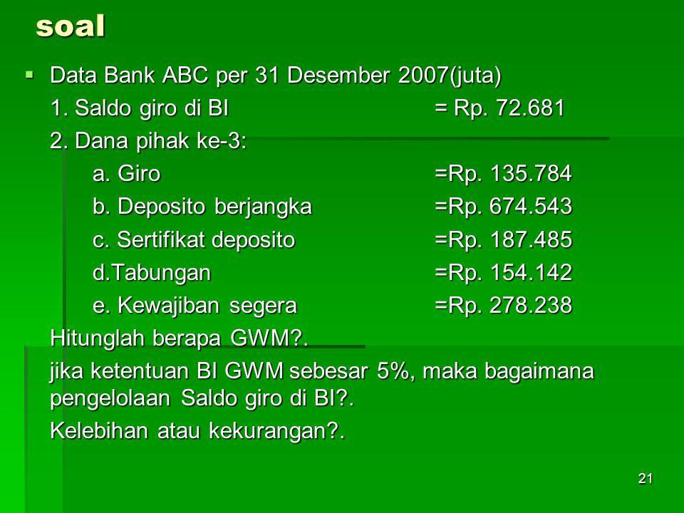 21soal  Data Bank ABC per 31 Desember 2007(juta) 1.