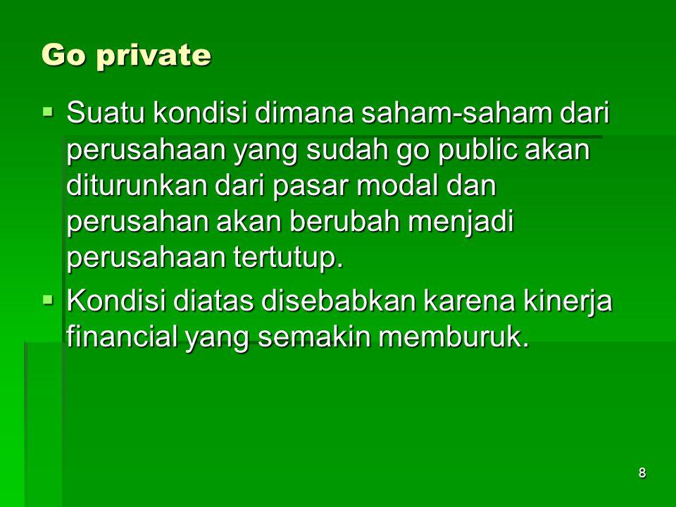 8 Go private  Suatu kondisi dimana saham-saham dari perusahaan yang sudah go public akan diturunkan dari pasar modal dan perusahan akan berubah menjadi perusahaan tertutup.
