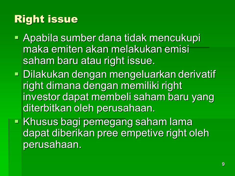 9 Right issue  Apabila sumber dana tidak mencukupi maka emiten akan melakukan emisi saham baru atau right issue.