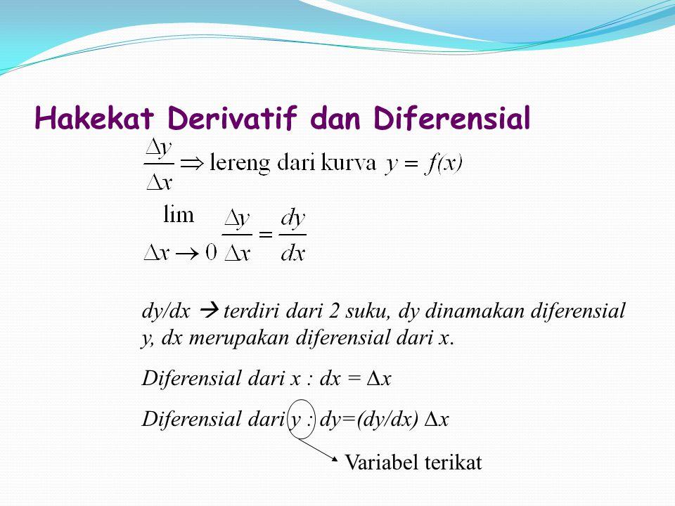 Hakekat Derivatif dan Diferensial dy/dx  terdiri dari 2 suku, dy dinamakan diferensial y, dx merupakan diferensial dari x. Diferensial dari x : dx =