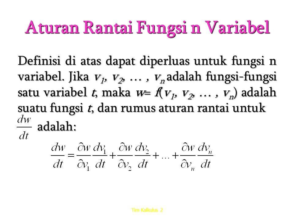 Aturan Rantai Fungsi n Variabel Definisi di atas dapat diperluas untuk fungsi n variabel. Jika v 1, v 2, …, v n adalah fungsi-fungsi satu variabel t,