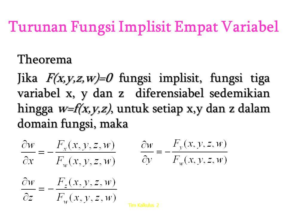 Turunan Fungsi Implisit Empat Variabel Theorema Jika F(x,y,z,w)=0 fungsi implisit, fungsi tiga variabel x, y dan z diferensiabel sedemikian hingga w=f