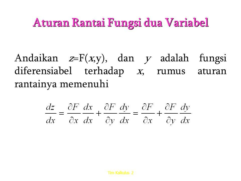 Aturan Rantai Fungsi dua Variabel Andaikan z=F(x,y), dan y adalah fungsi diferensiabel terhadap x, rumus aturan rantainya memenuhi Tim Kalkulus 2