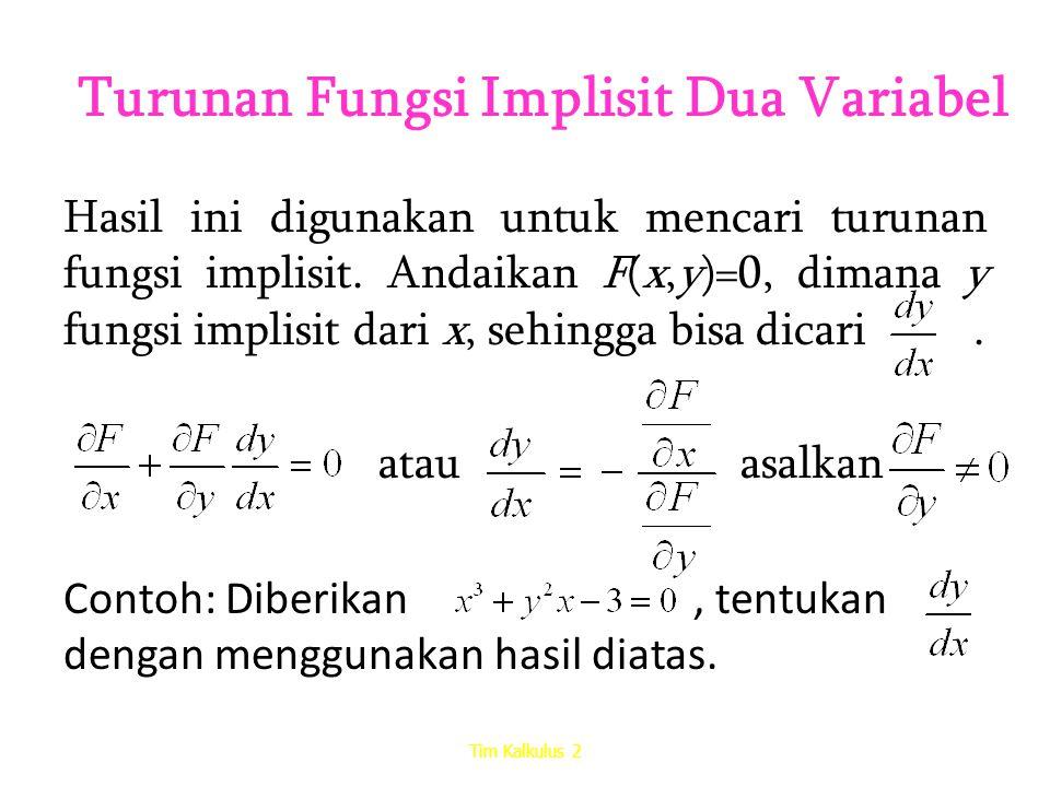 Turunan Fungsi Implisit Dua Variabel Hasil ini digunakan untuk mencari turunan fungsi implisit. Andaikan F(x,y)=0, dimana y fungsi implisit dari x, se
