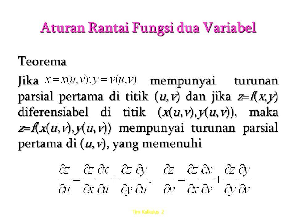 Aturan Rantai Fungsi dua Variabel Teorema Jika mempunyai turunan parsial pertama di titik (u,v) dan jika z=f(x,y) diferensiabel di titik (x(u,v),y(u,v