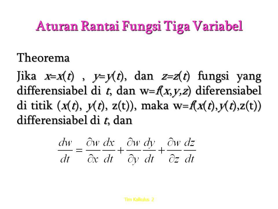 Aturan Rantai Fungsi Tiga Variabel Theorema Jika x=x(t), y=y(t), dan z=z(t) fungsi yang differensiabel di t, dan w=f(x,y,z) diferensiabel di titik (x(