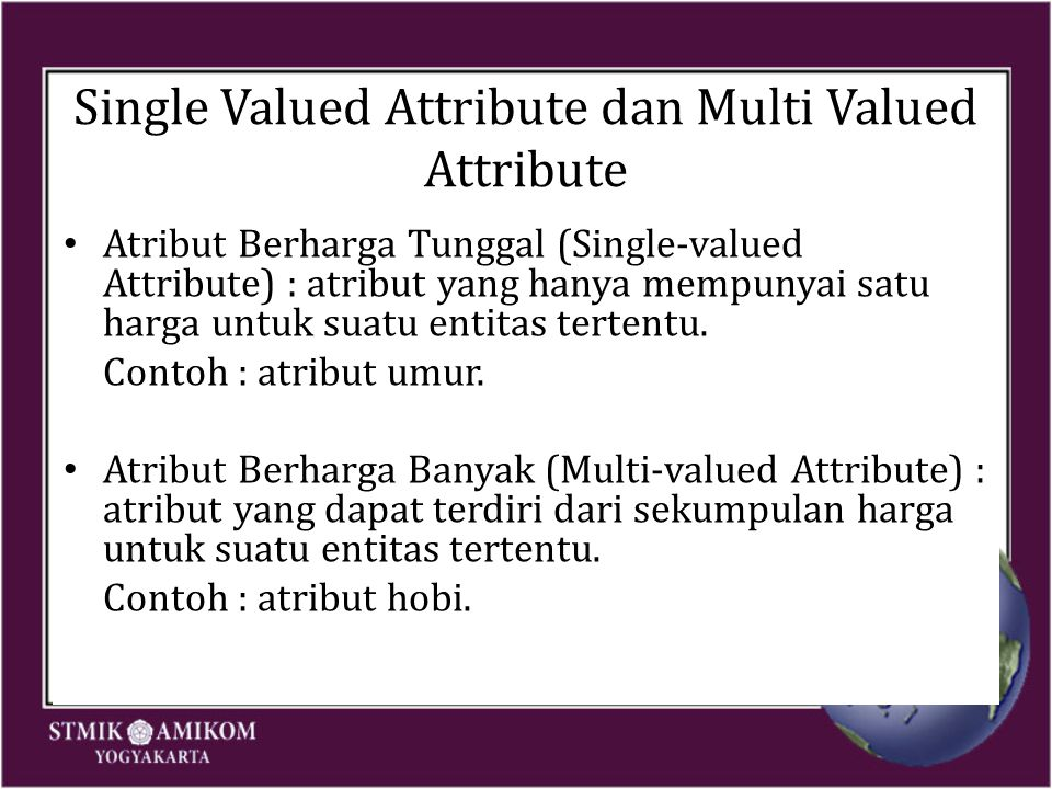 Single Valued Attribute dan Multi Valued Attribute Atribut Berharga Tunggal (Single-valued Attribute) : atribut yang hanya mempunyai satu harga untuk