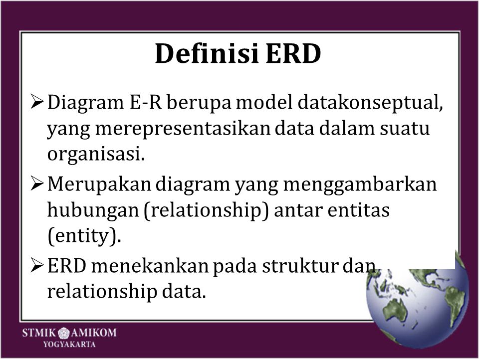 Symbol E-R Diagram Symbol ______ = Entity Keterangan = Weak Entity = Relationship = Identifying Relationship = Atribut = Atribut Kunci = Atribut Multivalue SymbolKeterangan = Atribut Komposit = Atribut Derivatif E1E2 R = Total Participation Of E2 In R E1E2 R N1 = Cardinality Ratio 1:N For E1:E2 In R