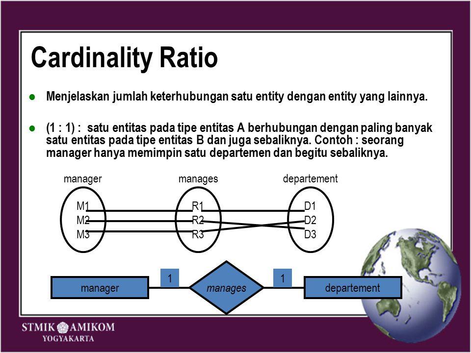 Cardinality Ratio Menjelaskan jumlah keterhubungan satu entity dengan entity yang lainnya. (1 : 1) : satu entitas pada tipe entitas A berhubungan deng