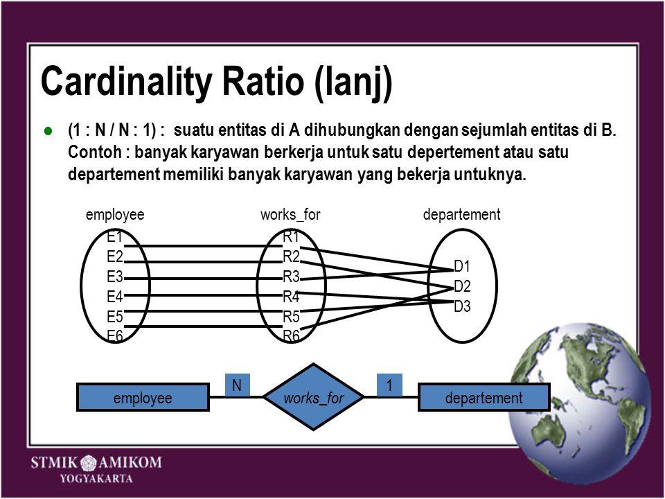 Cardinality Ratio (lanj) (1 : N / N : 1) : suatu entitas di A dihubungkan dengan sejumlah entitas di B. Contoh : banyak karyawan berkerja untuk satu d