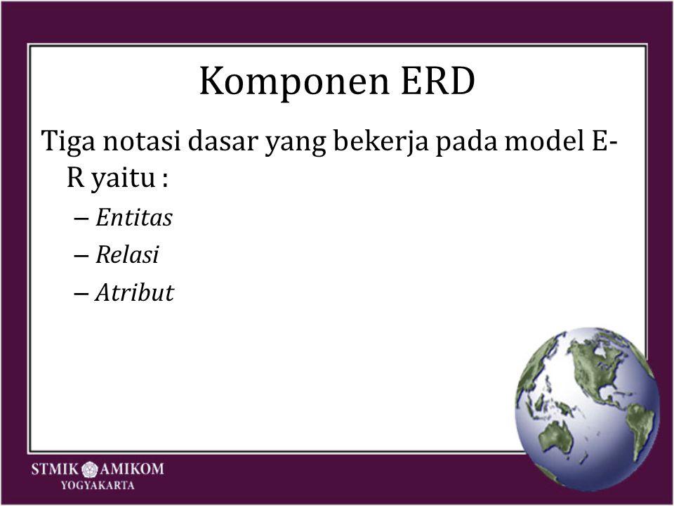 Komponen ERD Tiga notasi dasar yang bekerja pada model E- R yaitu : – Entitas – Relasi – Atribut