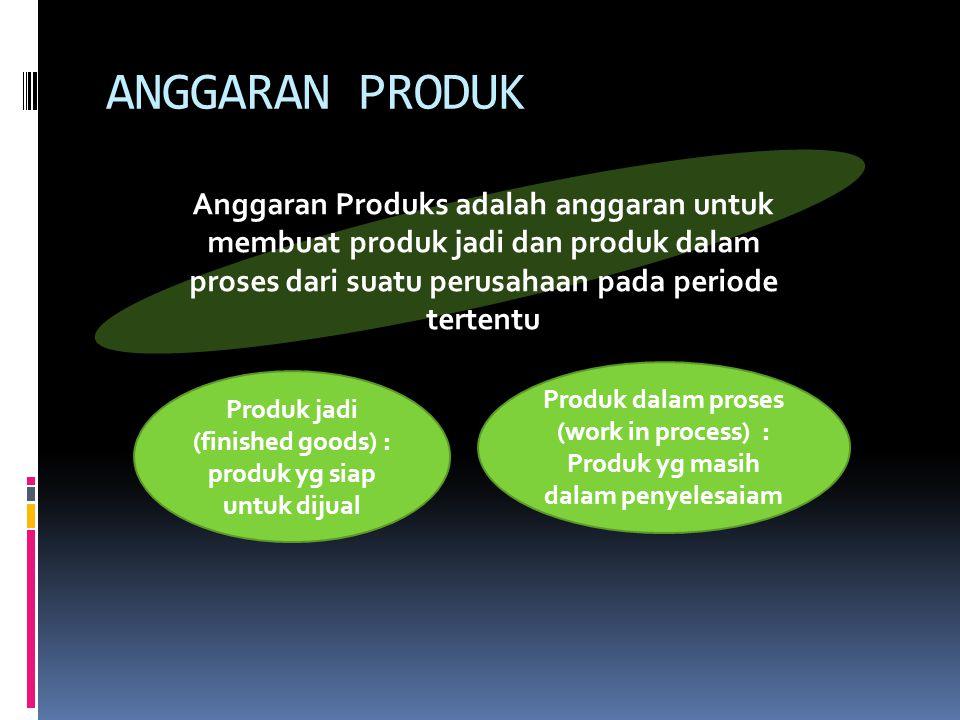 ANGGARAN PRODUK Anggaran Produks adalah anggaran untuk membuat produk jadi dan produk dalam proses dari suatu perusahaan pada periode tertentu Produk