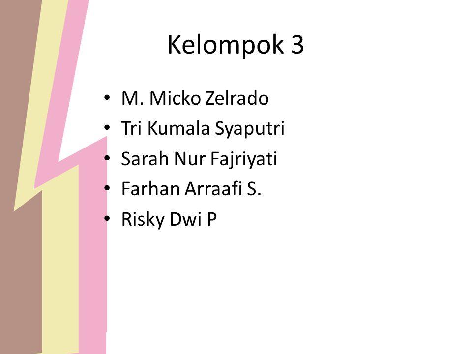 Kelompok 3 M. Micko Zelrado Tri Kumala Syaputri Sarah Nur Fajriyati Farhan Arraafi S. Risky Dwi P