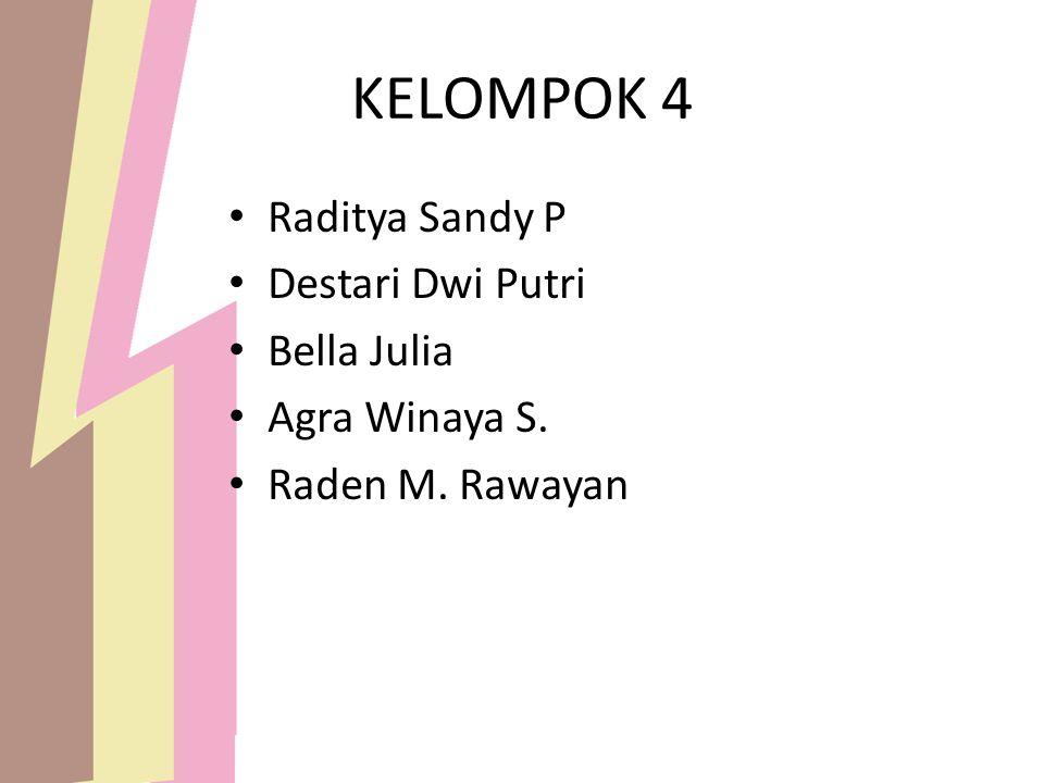 KELOMPOK 4 Raditya Sandy P Destari Dwi Putri Bella Julia Agra Winaya S. Raden M. Rawayan