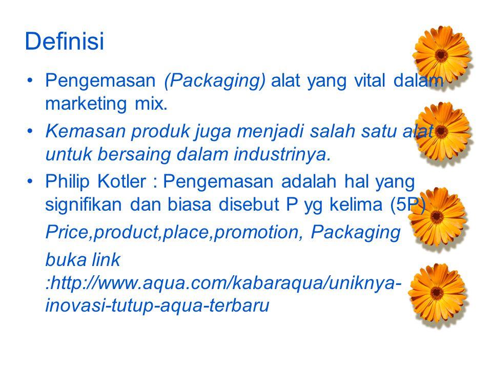 Definisi Pengemasan (Packaging) alat yang vital dalam marketing mix. Kemasan produk juga menjadi salah satu alat untuk bersaing dalam industrinya. Phi