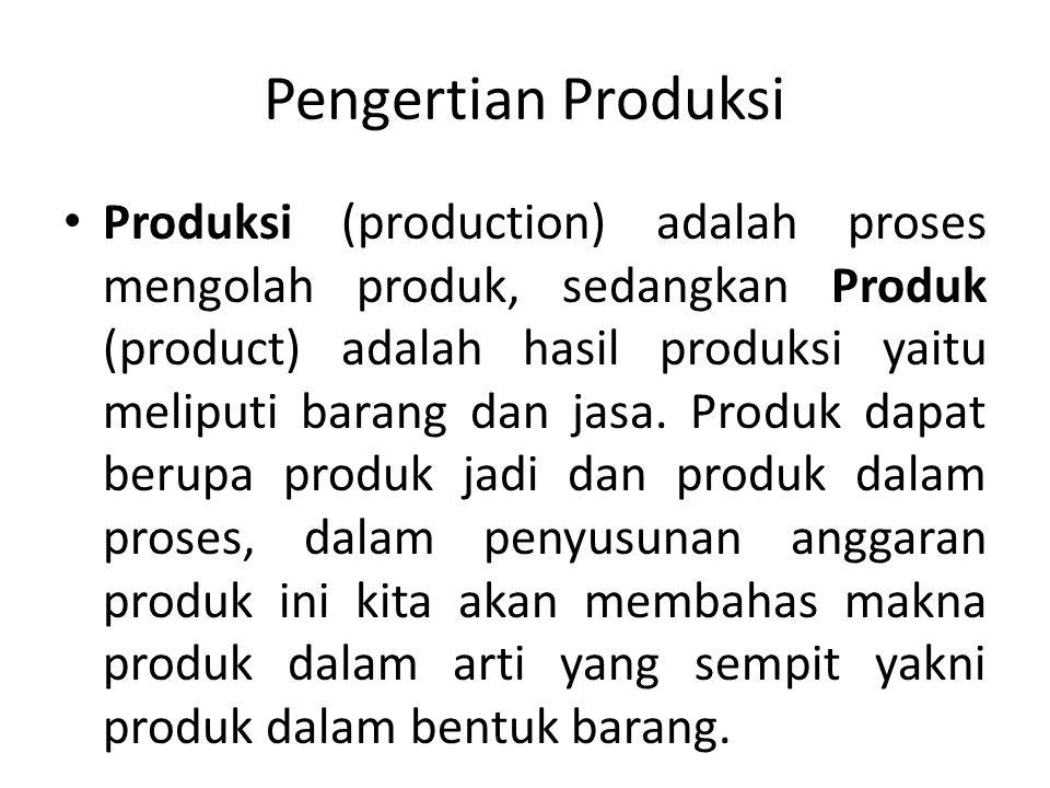 Pengertian Produksi Produksi (production) adalah proses mengolah produk, sedangkan Produk (product) adalah hasil produksi yaitu meliputi barang dan jasa.