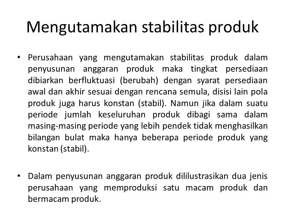 Mengutamakan stabilitas produk Perusahaan yang mengutamakan stabilitas produk dalam penyusunan anggaran produk maka tingkat persediaan dibiarkan berfluktuasi (berubah) dengan syarat persediaan awal dan akhir sesuai dengan rencana semula, disisi lain pola produk juga harus konstan (stabil).