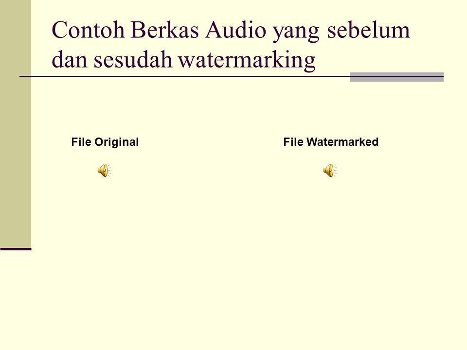 Kesimpulan dari pembuatan modul encode audio watermarking : Berhasil menyisipkan pesan berformat teks ke dalam berkas audio. Ukuran audio yang telah d