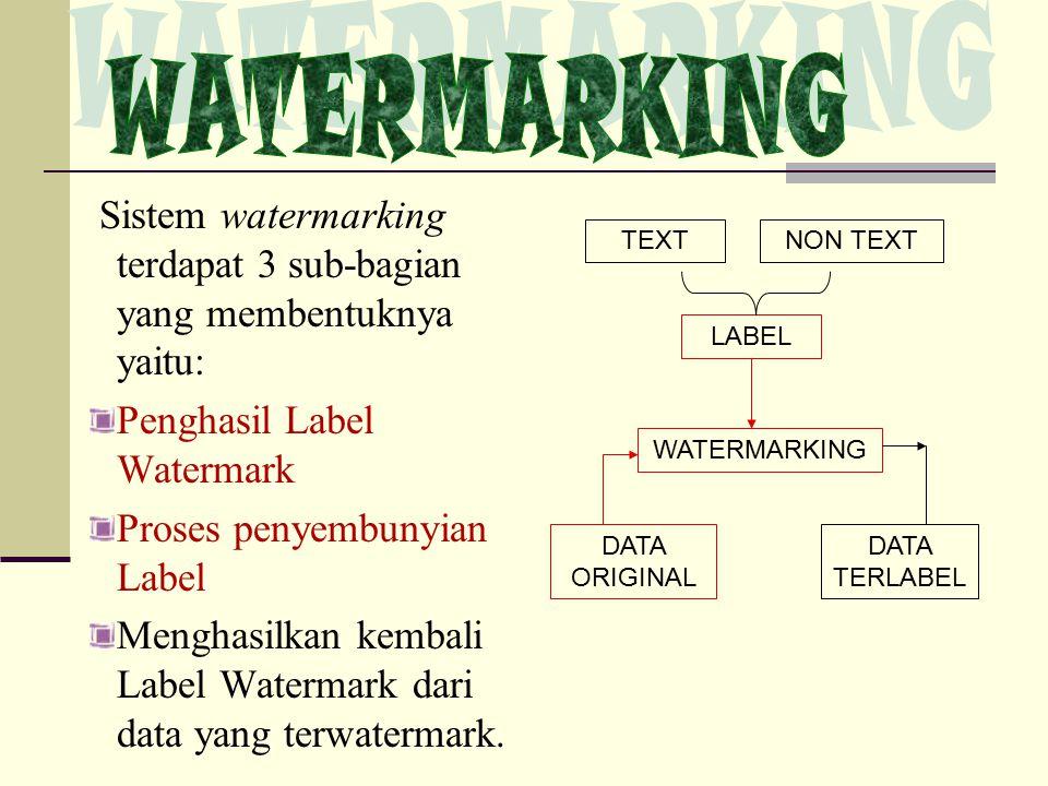 Sistem watermarking terdapat 3 sub-bagian yang membentuknya yaitu: Penghasil Label Watermark Proses penyembunyian Label Menghasilkan kembali Label Watermark dari data yang terwatermark.