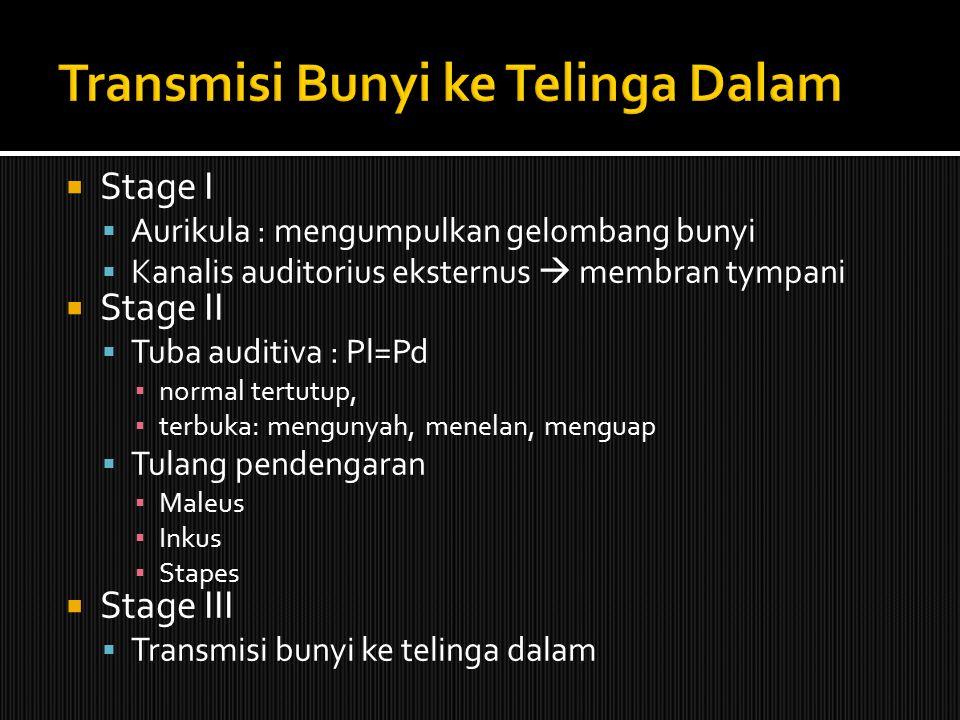  Stage I  Aurikula : mengumpulkan gelombang bunyi  Kanalis auditorius eksternus  membran tympani  Stage II  Tuba auditiva : Pl=Pd ▪ normal tertutup, ▪ terbuka: mengunyah, menelan, menguap  Tulang pendengaran ▪ Maleus ▪ Inkus ▪ Stapes  Stage III  Transmisi bunyi ke telinga dalam