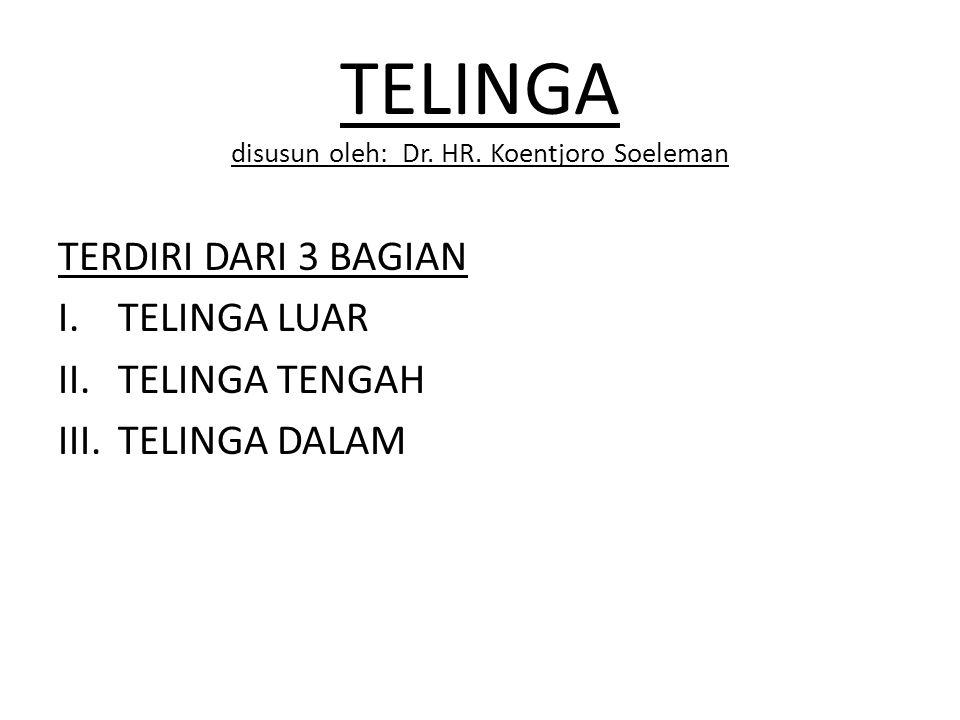 TELINGA disusun oleh: Dr. HR. Koentjoro Soeleman TERDIRI DARI 3 BAGIAN I.TELINGA LUAR II.TELINGA TENGAH III.TELINGA DALAM
