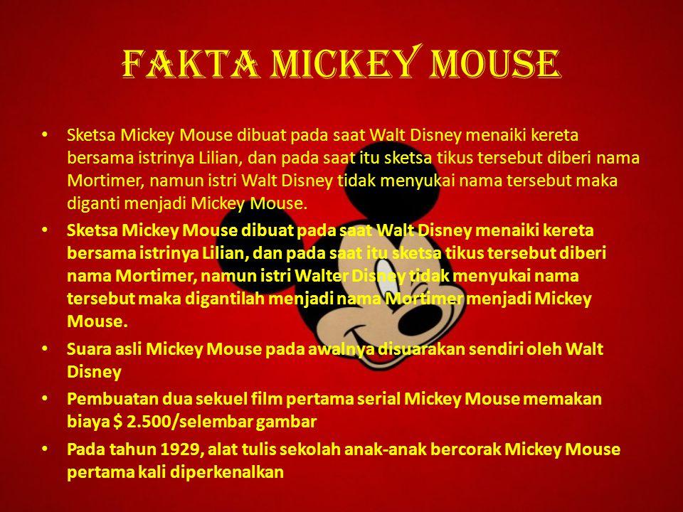 Fakta mickey mouse Sketsa Mickey Mouse dibuat pada saat Walt Disney menaiki kereta bersama istrinya Lilian, dan pada saat itu sketsa tikus tersebut di
