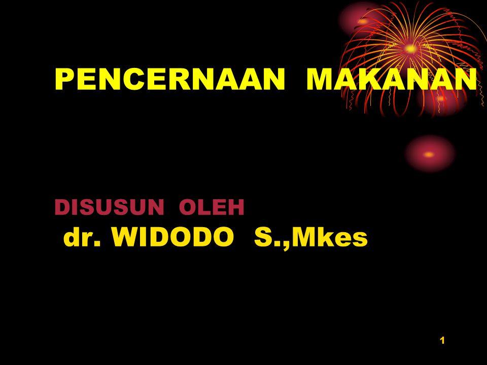 1 PENCERNAAN MAKANAN DISUSUN OLEH dr. WIDODO S.,Mkes