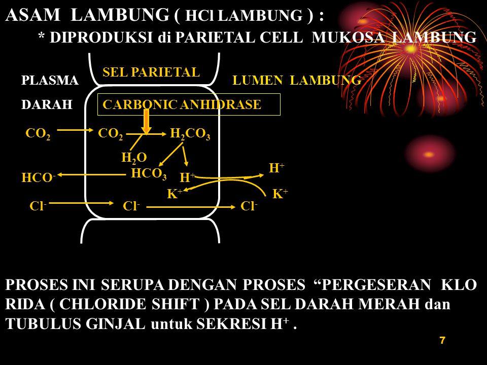 7 ASAM LAMBUNG ( HCl LAMBUNG ) : * DIPRODUKSI di PARIETAL CELL MUKOSA LAMBUNG SEL PARIETAL CARBONIC ANHIDRASE CO 2 H 2 CO 3 H 2 O HCO 3 H+H+ H+ H+ K +