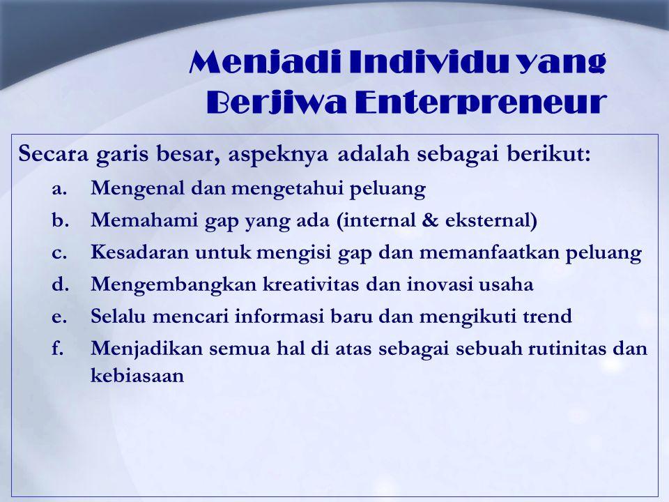 Menjadi Individu yang Berjiwa Enterpreneur Secara garis besar, aspeknya adalah sebagai berikut: a.Mengenal dan mengetahui peluang b.Memahami gap yang