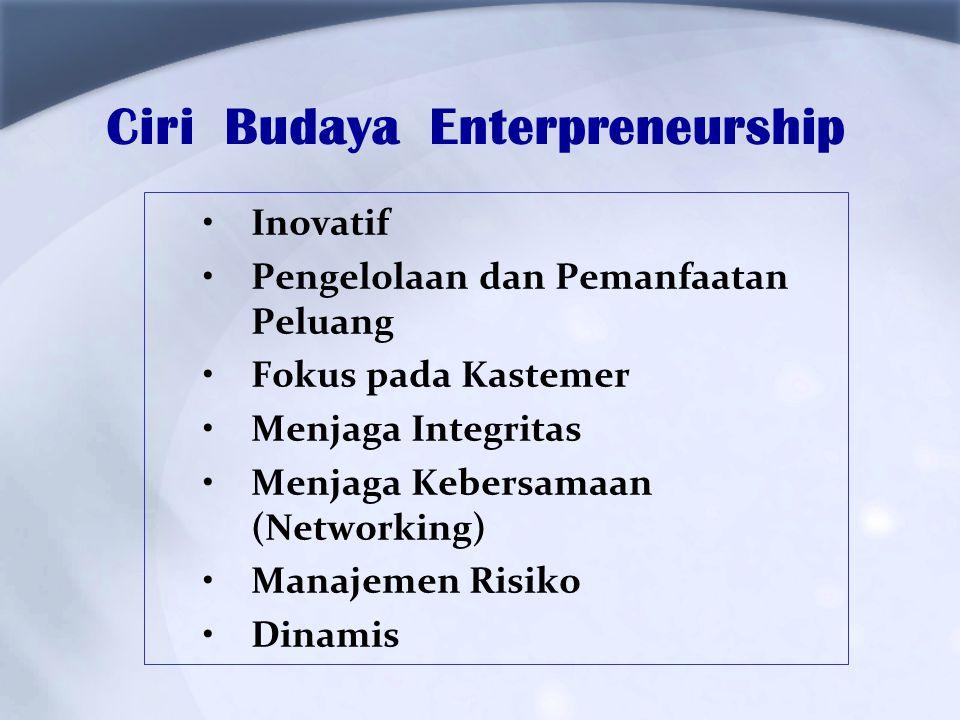 Ciri Budaya Enterpreneurship Inovatif Pengelolaan dan Pemanfaatan Peluang Fokus pada Kastemer Menjaga Integritas Menjaga Kebersamaan (Networking) Mana