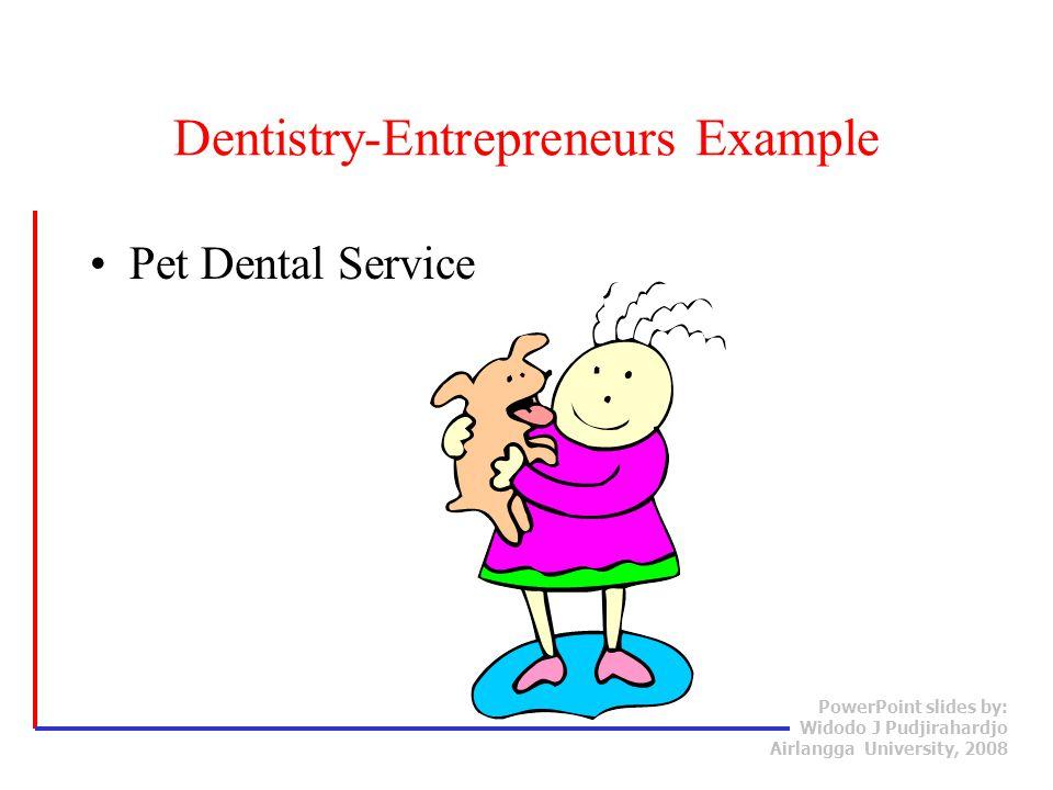 PowerPoint slides by: Widodo J Pudjirahardjo Airlangga University, 2008 Pet Dental Service Dentistry-Entrepreneurs Example