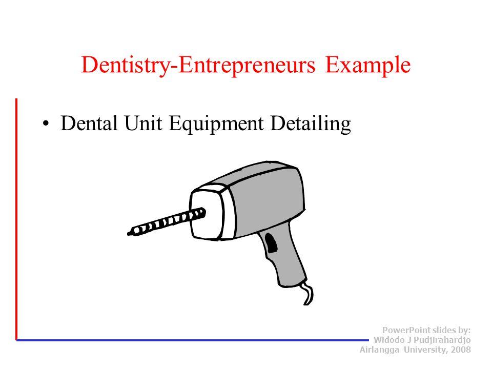 PowerPoint slides by: Widodo J Pudjirahardjo Airlangga University, 2008 Dental Unit Equipment Detailing Dentistry-Entrepreneurs Example