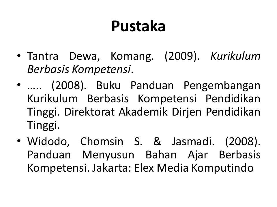 Pustaka Tantra Dewa, Komang. (2009). Kurikulum Berbasis Kompetensi. ….. (2008). Buku Panduan Pengembangan Kurikulum Berbasis Kompetensi Pendidikan Tin