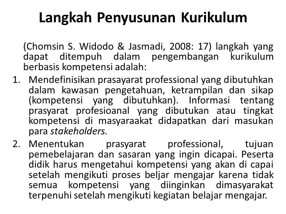 Langkah Penyusunan Kurikulum (Chomsin S. Widodo & Jasmadi, 2008: 17) langkah yang dapat ditempuh dalam pengembangan kurikulum berbasis kompetensi adal